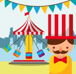 man and carousel with chairs carnival fun fair festival vector illustration